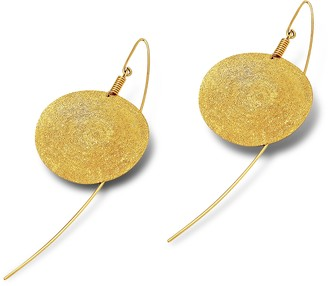 Stefano Patriarchi Golden Silver Etched Round Drop Earrings