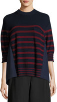 Sacai Striped Crewneck Pullover Sweater, Red Pattern