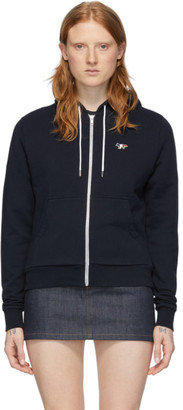 MAISON KITSUNÉ Navy Tricolor Fox Zip-Up Hoodie