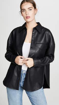 Tibi Utility Faux Leather Shirt