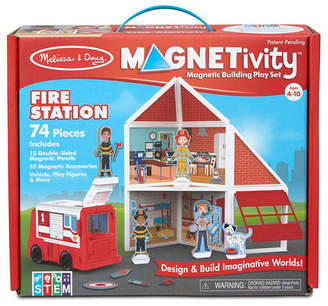 Melissa & Doug Melissa Doug 74-Piece Magnetivity Magnetic Building Play Set - Fire Station with Fire Truck Vehicle 13 Panels, 55 Accessory Magnets