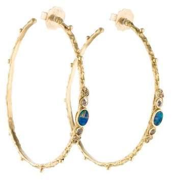 Armenta 18K Opal, White Sapphire & Diamond Textured Hoop Earrings