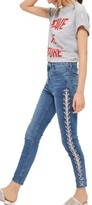 Topshop Petite Women's Jamie Side Lace-Up Ankle Skinny Jeans