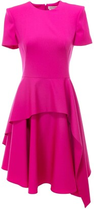 Alexander McQueen Asymmetric Short Sleeve Dress