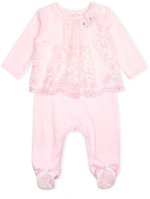 Biscotti Girls' Footies PINK - Pink Floral Embroidered Mesh Footie - Infant