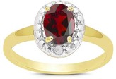 .95 Carat TW Oval-cut Garnet and Diamond Accent Ring Gold Plated (IJ-I2-I3) (January)