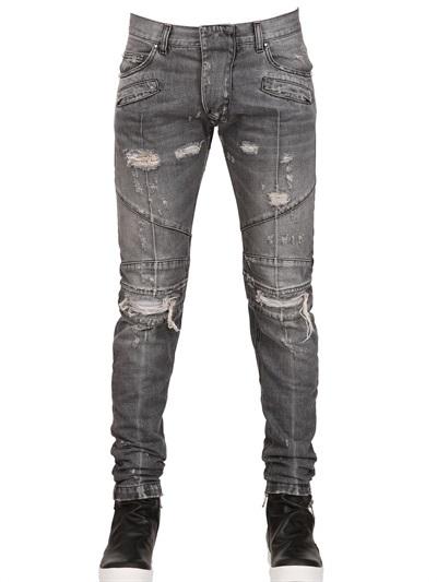 16cm Super Skinny Destroyed Biker Jeans