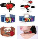 MingJun 3 Pieces Love and Rose Flower Choker Necklace Set Black Velvet Gothic Choker Brown Thick Velvet Blue Denim Jeans Necklace for Women and Teens