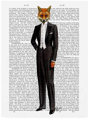 """Fab Funky Fox in Evening Suit, Full Canvas Art - 27"""" x 33.5"""""""