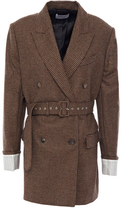 Racil Double-breasted Belted Houndstooth Wool Blazer