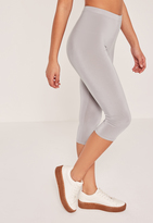 Missguided Slinky Crop Leggings Grey