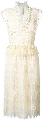 Ermanno Scervino V-neck fringed midi dress