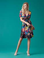 Diane von Furstenberg Short Sleeve Flared Wrap Dress