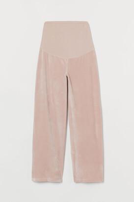 H&M MAMA Wide-leg Velour Pants