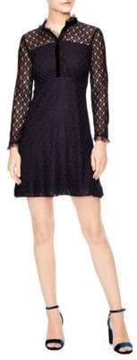 Sandro British Mashup Vegetale A-line Lace Dress