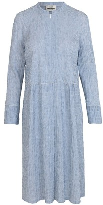Mads Norgaard Light Blue White Crinkle Pop Dupina Dress - 34