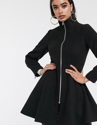 Asos Design DESIGN swing coat with zip front detail in black