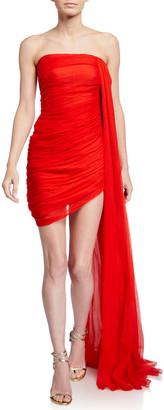 Oscar de la Renta Draped Chiffon Strapless Mini Dress