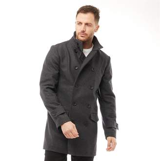 French Connection Mens Double Breasted Funnel Wool Jacket Charcoal Melange