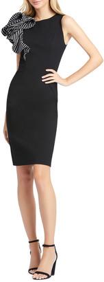 Mac Duggal Ruffle Shoulder Sleeveless Sheath Dress