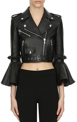 Moschino Modern Marie Antoinette Cropped Leather Jacket