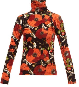 Dodo Bar Or Brenda Floral-print High-neck Velvet Top - Black Multi