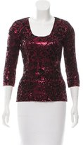 Just Cavalli Sequin Velvet-Accented Top