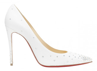 Christian Louboutin Degrastrass White Leather Heels
