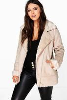 Boohoo Plus Mya Bonded Faux Fur Suedette Aviator Jacket