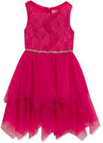 Rare Editions Glitter Lace-Bodice Dress, Little Girls