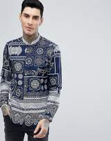Asos Regular Fit Paisley Print Shirt With Grandad Collar