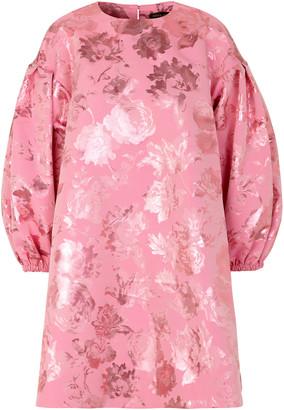 Stine Goya Francis Floral Metallic Jacquard Puff-Sleeve Mini Dress