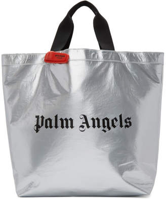 Palm Angels Silver Logo Shopper Tote