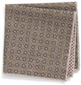 Eleventy Medallion Wool & Cotton Pocket Square