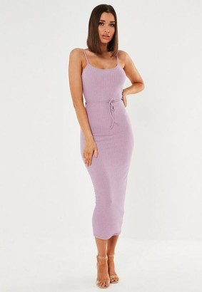 Missguided Tall Lilac Rib Tie Belted Cami Midaxi Dress