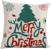 "Tenworld Linen Merry Christmas Sofa Bed Home Decor Pillow Case Cushion Cover 18""x18"""