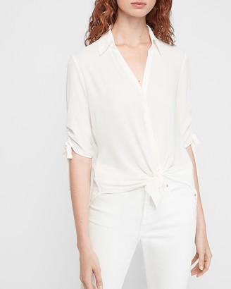 Express Tie Sleeve Button-Up Shirt