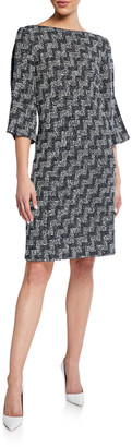 St. John Stepped Dress with Wicker Inlay