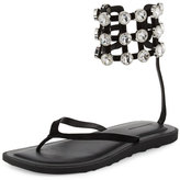 Alexander Wang Aubrey Crystal Caged Thong Sandal, Black