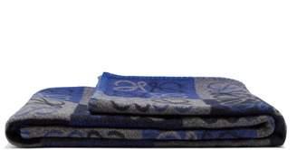 Loewe Anagram Wool Blend Blanket - Blue Multi