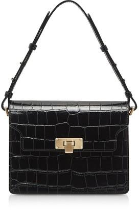 Croco Marge Sherwood Black Embossed Leather Vintage Brick Shoulder Bag