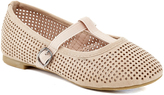 Beige Perforated T-Strap Flat