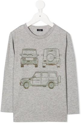 Il Gufo Car Print Long-Sleeved Top