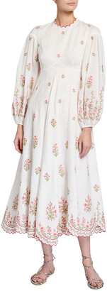 Zimmermann Poppy Embroidered Floral Midi Dress