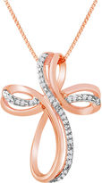 Silver Cross FINE JEWELRY 1/10 CT. T.W Diamond 14K Rose Gold-Plated Sterling Pendant Necklace