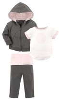 Hudson Baby Yoga Sprout Toddler Girl Hoodie, T-Shirt & Pants, 3pc Outfit Set