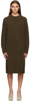 Tibi Khaki Alpaca Slit Cuff Easy Sweater Dress
