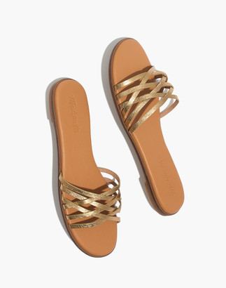 Madewell The Tracie Crisscross Slide Sandal in Metallic Leather