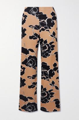 Leset Lori Floral-print Stretch-jersey Wide-leg Pants - Black