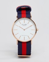 Reclaimed Vintage Inspired Canvas Stripe Watch In Navy/Red